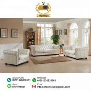 Set Sofa Kulit Minimalis Chesterfield